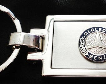 Mercedes Benz Brushed Silver with Sterling Trim Keychain-Free Engraving