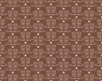 Riley Blake Road Cowboy Boots Brown Fabric by Samantha Walker -  cowgirl horses rodeo cotton brown quilting material C5636R-BROWN boots