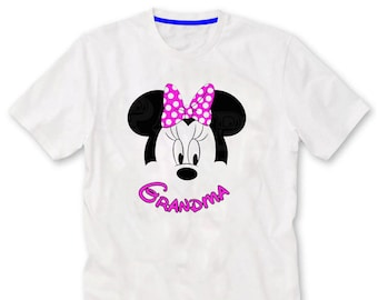 Grandma Minnie Mouse Ears. Birthday Party, Personalized Family Birthday Shirts, Iron on Transfer, Printable.