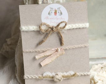 Neutral- Tan- Beige Tieback Set- Newborn to Toddler- Photography Prop- Rustic- Country- Shabby