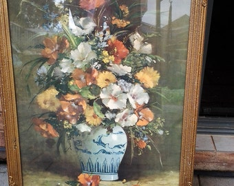 15% off Large Antique Genuine Still Life Oil Painting in Gilded Plaster Frame