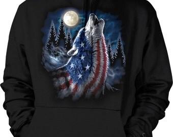 American Flag Wolf, Flag Pattern Wolf Hooded Sweatshirt, NOFO_00933