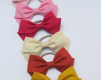 6 Bows, baby headbands, Nylon Headbands or Hair Clip, set bows, fabric headbands, baby girl headband, vanaguelite