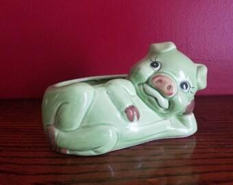 Vintage Pig Planter, Green