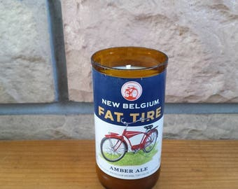 Beer bottle soy wax candle New Belgium Fat Tire Amber Ale