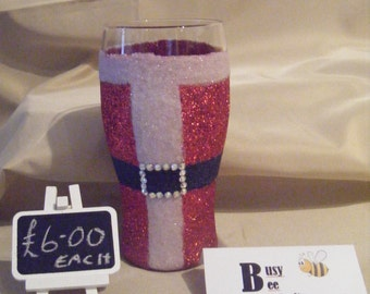 Santa Glitter Pint Glasses