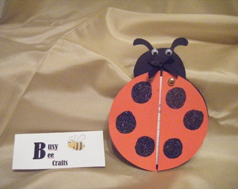 Handmade Pack of 10 Ladybug Invitations   (ready to ship)