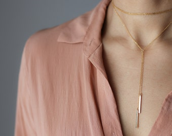 Delicate Gold Bar Necklace - Gold Y Necklace - Dainty Gold Jewelry - Layering Necklace - Bohemian Jewelry - Minimalist Necklace