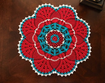 Red and Turquoise Pineapple Doily - Housewarming Gift - Handmade Lace Doilies - Coffee Table Doily - Rustic Table Decor - Anniversary Gift