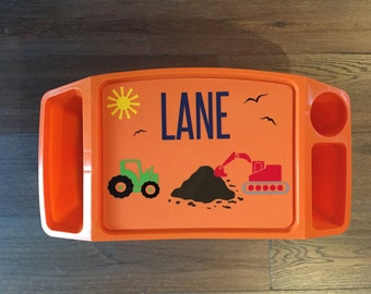 personalized tractor construction trucks monogram kids plastic lap tray desk birthday school