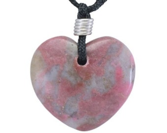 Heart Rhodonite Gemstone Pendant Hand Carved Stone Necklace