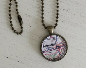 """Asheville NC necklace. Asheville map. North Carolina mountains. North Carolina jewelry. Road map of Asheville NC. Necklace 1"""" diameter."""