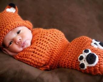 Crochet Newborn Fox Hat and Cocoon