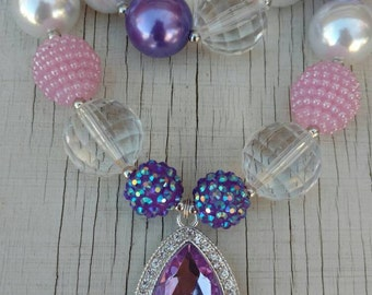 Sophia the First Inspired Amulet stretchy bubblegum necklace pink purple rhinestone pendant gumball necklace photo prop party girl's jewelry