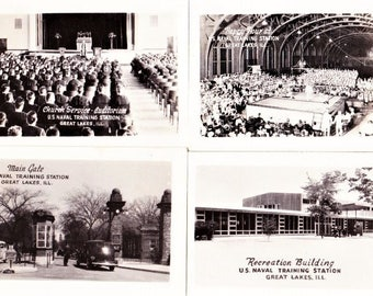 "Lot 4 Vintage Military Navy WWII Photos Great Lakes Naval Training Station B&W 1.75"" x 2.75"""