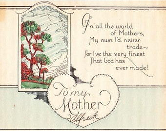 "Vintage Color Postcard Mother's Day Valentine To My Mother Unposted 4"" x 5"""