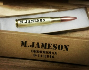 set of 6 Personalized 50 caliber 50 cal  bottle beer opener ammo box ammo can real bullet groomsmen gift fathers day gift best man gift