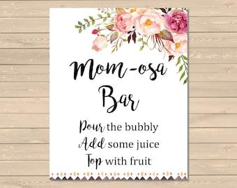 Boho Tribal Momosa Bar Sign, Momosa Bar Printable Baby Shower SIgn, Floral Tribal Momosa Bar Shower Sign, Pink Floral Instant Download 024-W