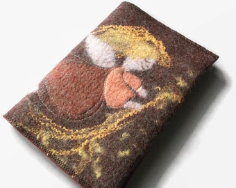 Book sleeve cover felted angel textile art gift idea birthday book jacket book lover Christmas gift kids mom sister college