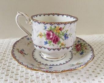 Vintage Royal Albert China Petit Point Teacup And Saucer, Vintage English  Fine Bone China