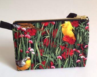 Bird fabric handmade cosmetic, toiletry bag