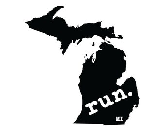 Run Mi State Outline Magnet