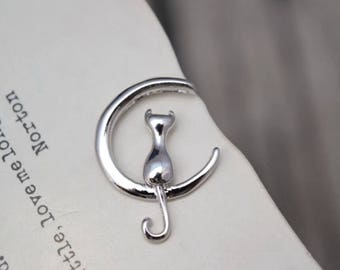 4 pcs sterling silver moon cat charm pendant QTT