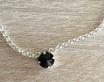 12MM Single Swarovski Necklace with Jet Crystal