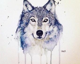 Bohemian Wolf Watercolour Print