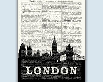 London Wall Decor, London Art Print, London Skyline Print, London Poster, London Decor, London Wall Art, London Home Decor, SKU L10