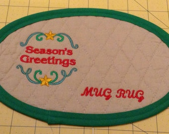 SEASONS GREETINGS!! X-Large Embroidered Quilted Coaster, handmade from Cotton Double Diamond Quilting & Embroidery. Great Stocking Stuffer