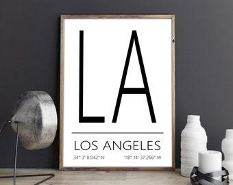 Los Angeles Poster, Los Angeles Print, Los Angeles Art, Los Angeles Coordinates, Los Angeles, Wall Art, Wall Decor, Printable Art, Download