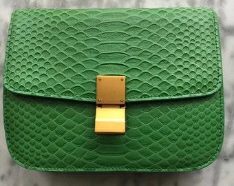 PYTHON BOX BAG Green Embossed Leather Box Bag