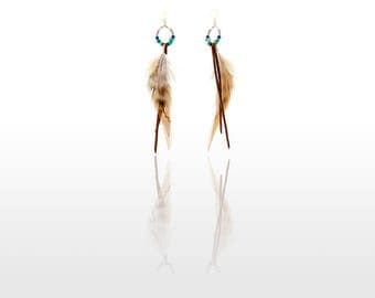 Hypoallergenic Silicone Beads and Turquoise Feather Earrings