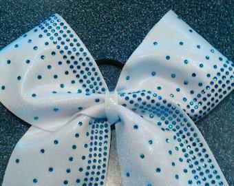 Blue rhinestones cheer bow