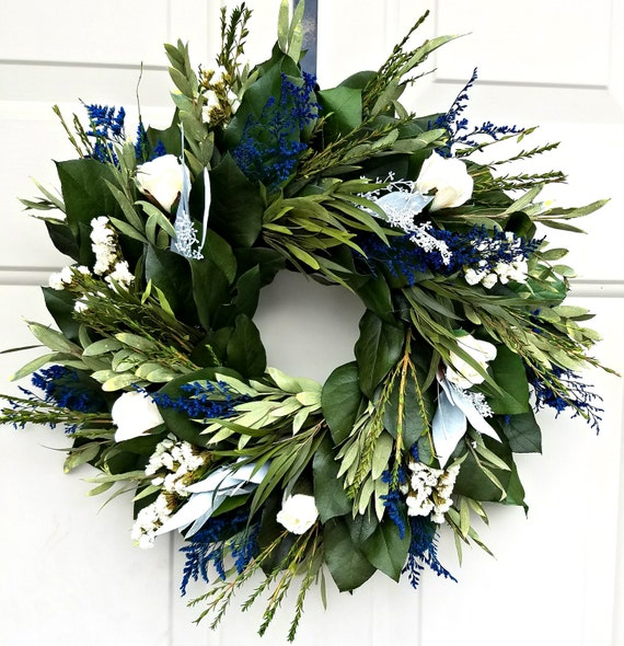Custom sizes, blue wreath, custom wreath, dried wreath, small wreath, large wreath, indoor wreath, natural wreath, endlessblossoms