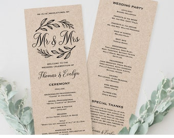 Wedding Program Template,  Printable Order of Service, Ceremony Program, Mr and Mrs, Instant Download, Editable Text, PDF File #027-205WP