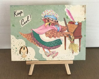 original artwork, mixed media, jumpy hen, wall art, whimsical, playful collage,