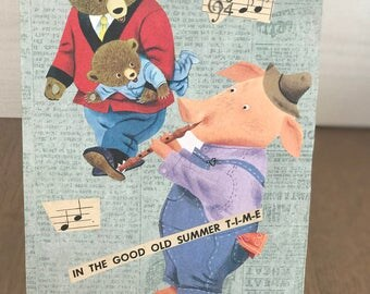 original collage artwork, mixed media, OOAK, musical, for musicians, wall art, whimsical, playful collage,