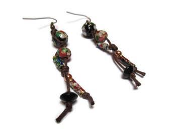 Fanciful earrings / Rope and cloisonne bead earrings / Free spirit earrings / Gypsy earrings / Bohemian earrings / Casual earrings /
