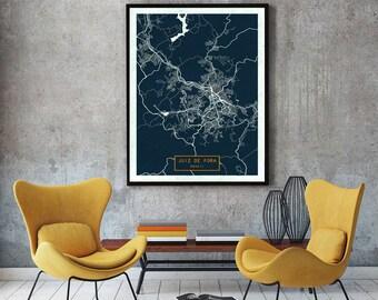 JUIZ De FORA Brazil CANVAS Large Art City Map Juiz Fora Print Poster