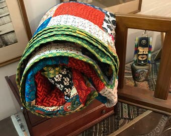 Beautiful Patchwork Handmade King Size Quilt 100% cotton-Reversible-Multipurpose-Ready to ship modern cotton quilts kantha quilt BDFR63
