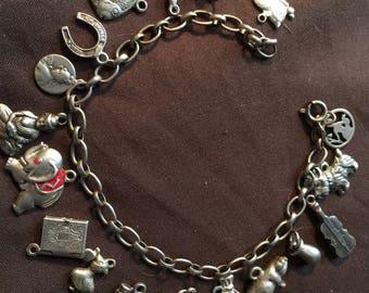 Vintage German Good Luck Sterling Silver Charm Bracelet