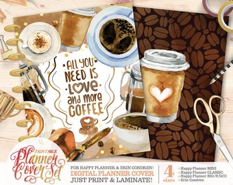 printable plannerbinder cover set coffee love happy planner erin condren us letter binder instant download