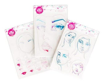 Jane Davenport Face Clear Stamps - DIY Face / 1 Face / 4 Jane Girls - Mixed Media Stamps/Journaling/Eyes