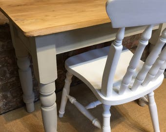 Kitchen table or desk in Country Grey, with chair in white