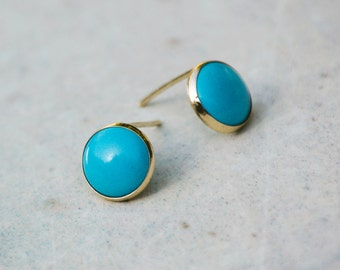 14K Real Gold Earrings, Turquoise earrings, Gold Stud Earrings, Gold Studs, Gold Jewelry, Gold Turquoise Studs, 14k Gold Earrings
