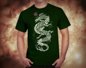 Steampunk Dragon dark green t-shirt for men, screen printed men's short sleeve tee shirt, Size S, M, L, XL, XXL