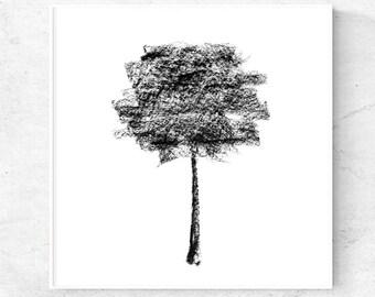 Black tree charcoal drawing minimalist art print, tree poster, 12x12, 24x36, 8x10, 5x7, 4x6 prints, black and white art, printable wall art