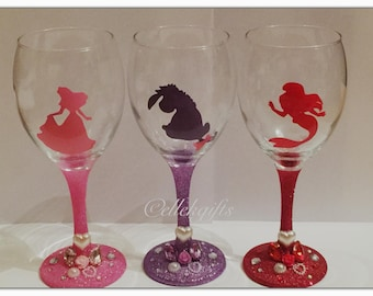 Disney Princess Fairytale Inspired Decorated Glitter Wine Glass Gift